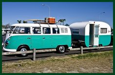 Kombi VW Bus and Trailer in Turquoise!  OMG!!!  My dream-come-true combo!