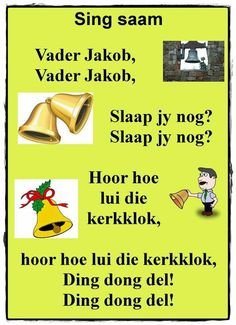 Vader Jakob, vader Jakob | Afrikaanse rympies en liedjies Animals Name In English, Kids Poems, Children Songs, Rhymes Songs, Afrikaans Quotes, Preschool Classroom, Classroom Ideas, Circle Of Life, Sensory Activities