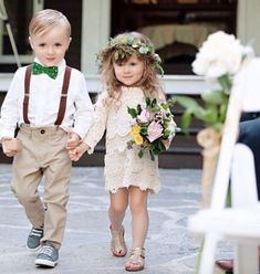 Too cute - boho style flower girl and page boy