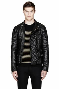 Balmain Quilted Leather Jacket for Men, via SSENSE. Men's Fall Winter Fashion.