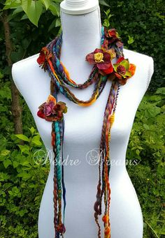 art+yarn+scarf | Long Fringe Scarf, Art Yarn Scarf, Lariat Scarf, Flower Garland ...
