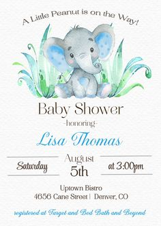 A Little Peanut Elephant Baby Shower Invitation Sugar and Spice Invitations Moose Baby Shower, Peanut Baby Shower, Elephant Baby Showers, Baby Elephant, Elephant Theme, Baby Invitations, Baby Shower Invitations For Boys, Babyshower Invites, Baby Shower Parties