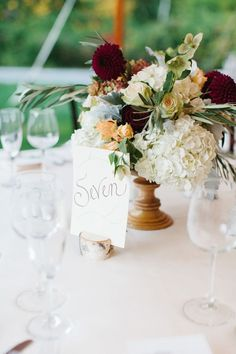 Fall centerpiece inspiration - wooden vase with maroon, white, orange, and green flowers and birch table number holder. Willowdale Estate, a weddings and events venue north of Boston, Massachusetts. WillowdaleEstate.com   Erin McGinn Photography