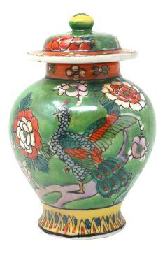Vintage Petite Hand-Painted Birds and Flowers Temple Jar on Chairish.com