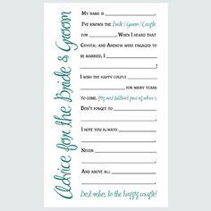 Wedding Advice Cards - Printable Game - Elegant Style - Digital File - Custom Colors on Etsy, $6.20 AUD