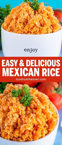 Easy Mexican Rice At Home Just like the rice from my favorite Mexican restaurant this rice is so delicious and shockingly easy to make rice mexicanrice spanishrice mexicanfood sidedish lftorecipes Homemade Mexican Rice, Mexican Rice Recipes, Easy Rice Recipes, Rice Recipes For Dinner, Mexican Dishes, Easy Recipe For Mexican Rice, Mexican Easy, Mexican Night, Mole