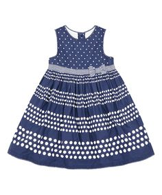 Look at this Navy Polka Dot A-Line Dress - Infant, Toddler & Girls on #zulily today!