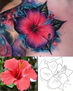 Search inspiration for a Realistic tattoo. Realistic Flower Tattoo, Flower Tattoo Arm, Flower Tattoo Shoulder, Flower Tattoo Designs, Butterfly Thigh Tattoo, Flower Tattoo Drawings, Tropical Flower Tattoos, Tropical Flowers, Hibiscus Flowers