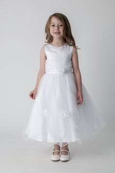 White Rose Flower Girl First Communion Bridesmaid Dress. available in other colours, please see our website. UK supplier ships worldwide.