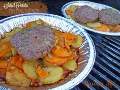 2 Sweet Potatoes Sliced     2 Yams (or 1 large one) Sliced     1 Stick Butter Sliced or cubed     Salt & Pepper     Parsley Flakes     Hamburger Patty {optional}  Slice up & mix them together in a tin foil pan or metal pie pan plus Salt n Pepper  and put hamburger patty on top Cover with tin foil  BBQ on LOW for 30 to 35 min, stirring once at 15 minute mark or oven 375 20/30 min