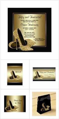 Black Gold Glitter High Heel Birthday Party