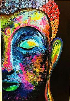 Buy Buddha artwork number a famous painting by an Indian Artist Palak Mendiratta. Indian Art Ideas offer contemporary and modern art at reasonable price. Buddha Artwork, Buddha Wall Art, Buddha Canvas, Indian Art Paintings, Unique Paintings, Budha Painting, Peace Painting, Buddha Drawing, Buddhist Art