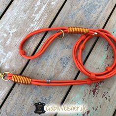 Luxus Hundeleine mit Handschlaufe Leder in Orange