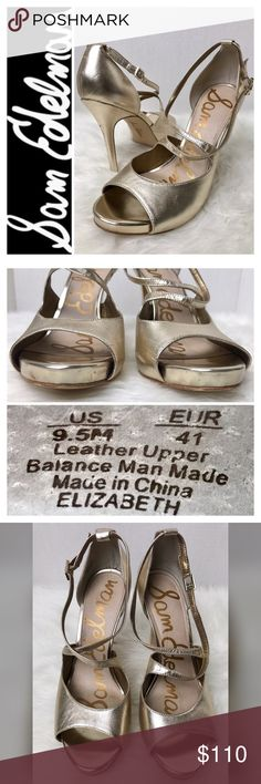 """Sam Edelman Signature Leather Heels Sam Edelman Signature Leather Heels in Stunning Metallic Gold, Minor Scuffs as Shown in Pics, but Plenty of Life Left!  Size 9 1/2 Tag with an Approx. 5"""" Heel, Used in Good Condition Sam Edelman Shoes Heels"""