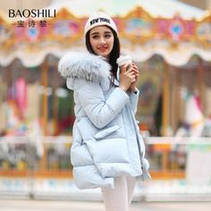 4b5fcb175f5e5 Bausch Li 2015 winter new Korean yards cape coat and long sections Slim  large raccoon fur collar down jacket women