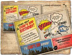 Superhero+Invitation+/+VINTAGE+Superhero+birthday+by+2birdstudios,+$20.00