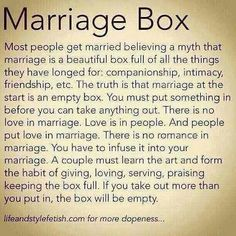 I like this. Marriage takes some effort and I don't think a lot of people realize that before hand.