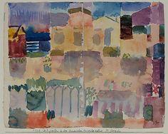Garden in St. Germain, el barrio europeo cerca de Túnez  Paul Klee (alemán (nacido en Suiza), Münchenbuchsee 1879-1940 Muralto-Locarno)  Fecha: 1914 Medio: Acuarela sobre papel Dimensiones: H. 8-1/2, 10-3/4 pulgadas W. (21,6 x 27,3 cm.) Clasificación: Dibujos Línea de crédito: La Colección Berggruen Klee, 1984