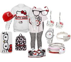 Hello Kitty outfit idea and like OMG! get some yourself some pawtastic adorable cat apparel! Hello Kitty Clothes, Hello Kitty Shoes, Pink Hello Kitty, Hello Kitty Items, Hello Kitty Outfit, Outfits For Teens, Cool Outfits, Swag Outfits, Stylish Outfits
