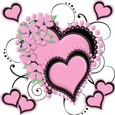 Pink hearts with black