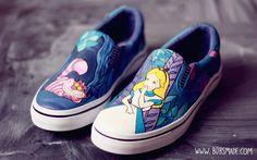 Alice in Wonderland SlipOns Visit us at www.bobsmade.com. #Bobsmade #AliceInWonderland #Disney #CheshireCat
