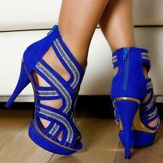 Dark Blue & Gold Zipper Designed Heels