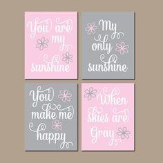 Pink Gray Nursery You Are My Sunshine Wall Art Pink Gray Artwork Nursery Rhyme Quote Song Sunshine Prints Set of 4 Girl Nursery Decor