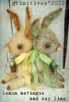 Primitive Mohair Easter Bunny Rabbit Doll by Grimitives.