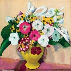 """""""Flowers in a Yellow Vase,"""" Jane Peterson, oil on canvas, 24 x private collection. Matisse, Flower Vases, Flower Art, Yellow Vase, Digital Museum, Collaborative Art, Contemporary Artists, Female Art, Oil On Canvas"""