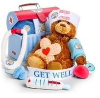 "Union members can save on the new ""Get Well Plush Doctor's Play Set"" by GiftTree. It's an adorable way to tell someone special to get well soon! Comes with a plush teddy bear, stethoscope, thermometer, surgical mask, bandage, prescription block, doctor's bag, and a bandage-themed sugar cookie."