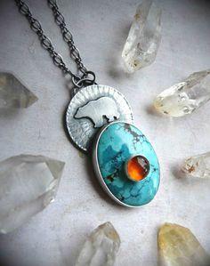 Bear Medicine Animal Totem Silhouette Necklace - Kingman Turquoise, Amber, & Sterling Silver Metalwork Pendant -Silversmith Gemstone Jewelry