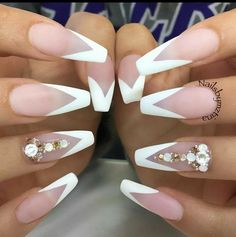 33 Fancy White Coffin Nails Designs Matte Nails With A White French Manicure Design Discover trendy and cute white coffin nails designs with accent, glitter, rhinestones. Find an idea for your long, short nails. French Manicure Designs, White Nail Designs, Colorful Nail Designs, Unique Nail Designs, Gem Nail Designs, Coffin Nails Designs Summer, Popular Nail Designs, Colorful Nail Art, White Coffin Nails