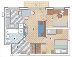 Перепланировка Трехкомнатная квартира общей площадью 42,5м2: Победа рациональности в доме !!!!!!!!!!!!!!!!!!!!!!!!!!!!!!!!!!!!!