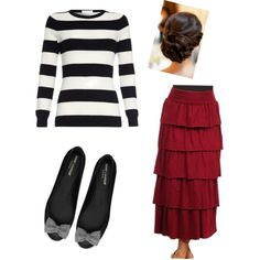 """""""Modest fashion ❤️"""" by makaylahart on Polyvore using """"francine"""" ruffle tiered skirt by Apostolic Clothing!"""