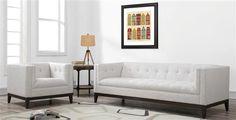 Gavin Classic Beige Blue Grey Linen Wood Living Room Set