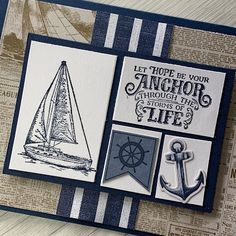 Stampin' Up! Come Sail Away Suite has coordinating products like Memories & More cards that makes card-making easy Masculine Birthday Cards, Masculine Cards, Nautical Cards, Fathers Day Cards, Card Maker, Sympathy Cards, Paper Cards, Stampin Up Cards, Making Ideas