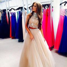 2 piece champagne prom dresses 2015 ball gowns high neckline silver beads long evening gowns - Thumbnail 3