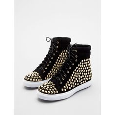Jeffrey Campbell Alva-Hi-St ($81) ❤ liked on Polyvore featuring shoes, sneakers, sapatos, jeffrey campbell, gold shoes, high top trainers, high top sneakers, gold high tops and studded high-top sneakers