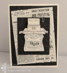Dynamic  Duos Week 26 teaches you two projects using the same products. This week it's a vintage card and mini, fold out scrapbook. Stampin' Up, Tap,  Tap, Tap, Typeset designer paper