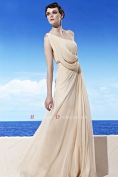 Grecian Draped One-shoulder Cream Prom Dress with Beading Decorations Gala Dresses, Formal Dresses, Wedding Outfits, Wedding Dresses, Cream Dresses, Prom 2014, Vanilla Cream, Beading, One Shoulder