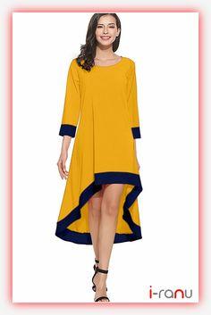 Magic yellow crepe western long dress - i-ranu Crepe Fabric, Long Dresses, Westerns, One Piece, Magic, Yellow, Long Gowns