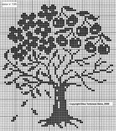 Cross Stitch Fruit, Cross Stitch Tree, Cross Stitch Charts, Cross Stitch Designs, Cross Stitch Patterns, Filet Crochet Charts, Knitting Charts, Cross Stitching, Cross Stitch Embroidery