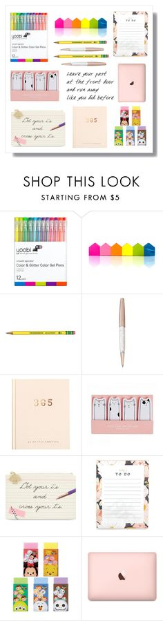 """School supply 2k17"" by draco5678 ❤ liked on Polyvore featuring Yoobi, Suck, Swarovski, Kate Spade and Disney"
