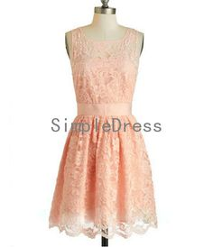 New Arrival A-line Straps Sleeveless Mini Lace Fashion Cheap Short Prom Dress / Evening Dress 2014  With Sash on Etsy, $73.00