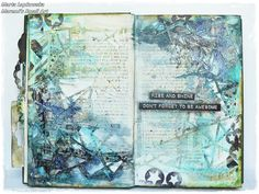 Marta Lapkowska art journal page inspiration. Blue, green, ocean themed. Text.