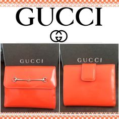 Authentic Gucci orange patent Horsebit wallet Gucci wallet in Preowned condition. Shows minimal wear on the outside. Interior shows some wear especially some stains in the change compartment. Box included. Offers welcome Gucci Bags Wallets