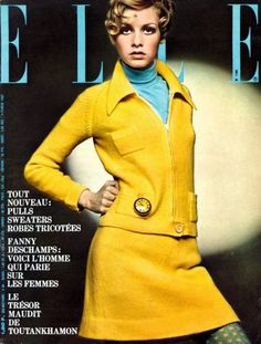 Twiggy - Elle 1967 vintage fashion style yellow suit dress skirt jacket model magazine color photo 60s 70s