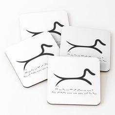 Minimalist Dachshund with morse code Coasters (Set of 4) Designed by MariaUusivirta. #dachshund #dachshundlove #dachshundowner #tectel #doxie #sausagedog #minimalist #minimalistdachshund #morsecode #blackandwhite #dachshundlove #dachshundowner #tectel #doxie #sausagedog #minimalist #simpledecor #dachshundart #art #blackandwhite #minimalistlove #simplelove #dachshundshirt #minimalistdog #dogshirt #doglover #minimalistlover #simpledog #dogart #dogs #dogdrawing #linedog #drinking #drink… Dachshund Shirt, Dachshund Love, Dog Shirt, Morse Code, Minimalist Decor, Coaster Set, Animal Drawings, Dog Lovers, Drinking