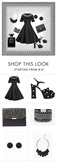 """Trim With Spots"" by jeanstapley ❤ liked on Polyvore featuring WithChic, Yves Saint Laurent, Lauren Ralph Lauren, White House Black Market, Talbots and Chanel"