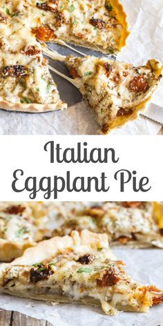 Italian Eggplant Pie - An Italian in my Kitchen - An easy Savory Pie, the perfect way to use up summer eggplant. Layers of eggplant, two types of cheese, spices and dried tomatoes. The perfect combination for an appetizer or main dish. Baby Food Recipes, Beef Recipes, Vegetarian Recipes, Cooking Recipes, Italian Dishes, Italian Recipes, Italian Eggplant Recipes, Eggplant Dishes, Eggplant Pizzas